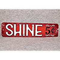 Metal Sign SHOE SHINE boy shoeshiner boot polisher repair street vendor polish brush aluminum garage man cave wall