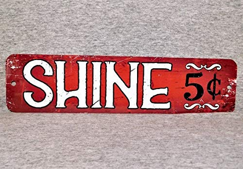 Aluminium Garage (Metallschild Schuh Shine Boy Schuhputzer Stiefelpolierer Reparatur Street Vendor Politur Bürste Aluminium Garage Mann Höhle Wand)