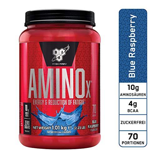 BSN Amino X Verzweigtkettige Aminosäuren (mit Vitamin D, Vitamin B6, Taurin, Alanin und Arginin, BCAA-Pulver von BSN) blue raspberry, 70 Portionen, 1kg