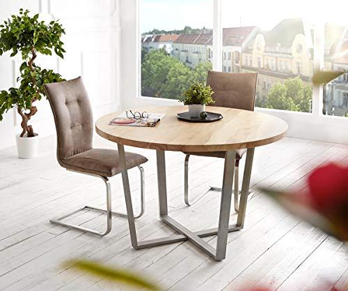 DELIFE Esszimmertisch Tamana Akazie Gebleicht 120x120 Massivholz rund Metall Silber Esstisch