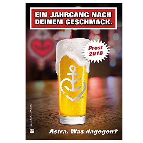 ASTRA A3 Wandkalender 2018 mit unterschiedlichen Bier-Motiven, lustiger Kalender zum Aufhängen, für Männer & Frauen, Geschenk-Ideen aus St. Pauli