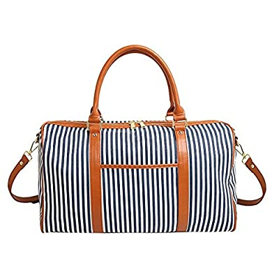 BAOSHA HB-25 Ladies Women Canvas Holdalls Weekender Bag Travel Duffel Tote Bag Weekend Overnight Travel Bag Handbags with Strips and PU Leather Decoration