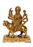 ART SWAG Brass Antique Look Hindu Goddess Durga Devi Handicraft Statue Sherawali Mata Rani / Decorative Spiritual Puja Vastu Showpiece Figurine - Religious Pooja Gift Item & Murti for Mandir / Temple / Home / office. (Dimension - 4.2x2.4x5.2 in inches)