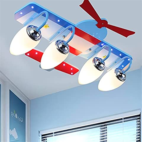 Malovecf Sky Blue Cartoon Airplane Led Pendant Light Decorative Ceiling Lighting New Bedroom Children's Aircraft Lights, 59 * 59 * 17CM