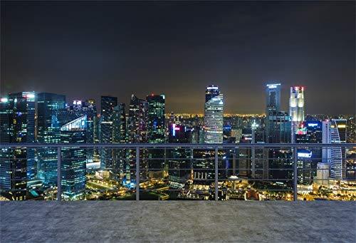 YongFoto 1,5x1m Vinyl Foto Hintergrund Leerer moderner Terrassenbereich, New York City Ansicht glättend Fotografie Hintergrund Fotostudio Hintergründe Requisiten