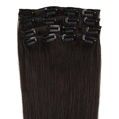 Beauty7 Extensions de cheveux humains à clip 100% Remy Hair 1B Couleur Noir Longueur 46 cm Poids 70 grams