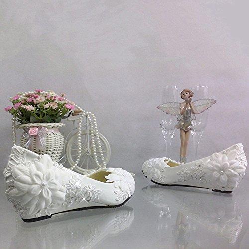 JINGXINSTORE Cuneo con fiore di pizzo Strass scarpe matrimonio bianco spose damigella matrimonio prestazioni scarpe singolo Bianco