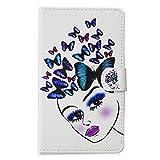 Funluna Samsung Galaxy Tab 4 7.0 Hülle, Stoßfest PU Leder Tasche mit Ständer Funktion Dokumentschlitze Folio Schutzhülle für Samsung Galaxy Tab 4 7,0 SM-T230/T235, Girl&Butterfly