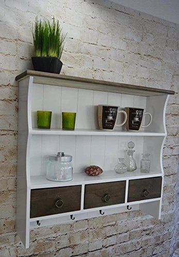 Livitat® Küchenregal Wandregal 60 x 67 cm Regal Wandschrank Hängeregal Weiß Holz Shabby Vintage Retro LVA1066