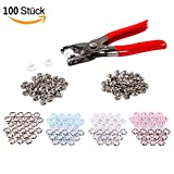 WLot 100 Set Druckknöpfe mit Snaps Zange Druckknopf Metall Kupferschnalle für DIY Basteln, Nähfrei Buttons in 4 Farben 9,5mm Durchmesser (25 ST. in jeder Farbe)