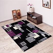 Alfombra De Salón Moderna – Color Negro Púrpura De Diseño Cuadrado – Suave – Fácil De Limpiar – Top Precio – Diferentes Dimensiones S-XXXL 160 x 220 cm