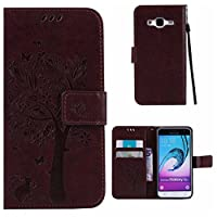 Samsung Galaxy J3 2016 Case + Free Tempered Glass Screen Protector, BoxTii® Premium PU Leather Case Cover with [Wrist Strap] [Magnetic Clip] [Card Slots] [Stand], Elegant Vintage Book Style Design Anti-Scratch Shock-Absorption Folding Folio Flip Wallet for Samsung Galaxy J3 2016 (#4 Brown)