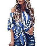 SEWORLD 2018 Damen Mode Sommer Herbst Frauen Gestreifte Lange Glockenhülse V-Ausschnit Vorderseite Krawatte Knoten T Shirt Tops Bluse(d-Blau,EU-38/CN-S)