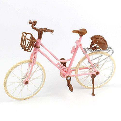 Zantec Rosa Fahrrad Spielhaus Spielzeug Abnehmbare Bike + Basket + Braun Helm Kinder Spielzeug für Barbie Puppen Zubehör Anna American Girl Puppe Kleidung