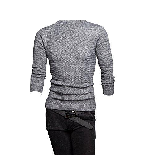 BOMOVO Herren V-Ausschnitt Feinstrick Strickpullover Pullover Sweatshirts Grau