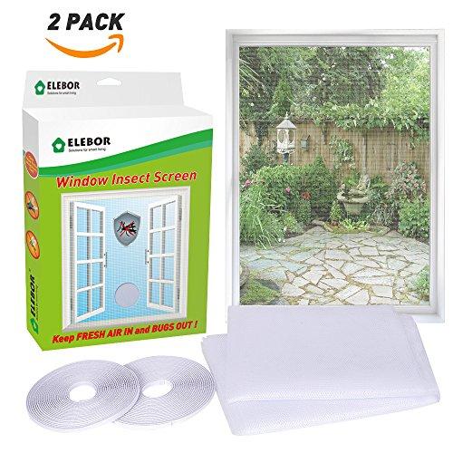 Finestra zanzariera, elebor 2 confezioni 1.3 m x 1.5 m finestra zanzariera rete mesh con rotolo di nastro autoadesivo bianco