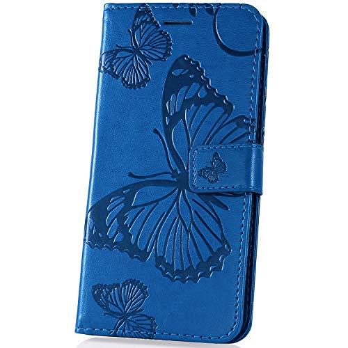 JAWSEU kompatibel mit Xiaomi Mi Play Hülle Leder Flip Case Tasche Schmetterling Handyhülle Kunstleder Brieftasche Wallet Case Schutzhülle Handytasche Magnetisch Kartenfach Ständer Etui,Blau - Schmetterling Lang Wallet
