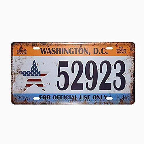 Shinewe Plaque d'immatriculation vintage en métal pour décoration d'intérieur ou de bar; 15x 30cm, Métal, Washington.d.c.52923, 15x30cm