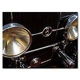 Glücksvilla Oldtimer 20 - Exklusives Künstlermotiv, XXL Bild/Wandbild, Größe: 120 x 90 cm Quer-Format, Digital-Druck auf Acrylglas 5 mm, Auto Fahrzeug schwarz Silber