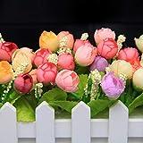 XuanMax 2pcs Roses Kunstblumen mit Zaun Kunstpflanzen mit Topf Künstliche Blumen im Pot Künstliche Pflanzen Gefälschte Topfpflanzen Bonsai Dekoartikel Ornamente 30 * 7.5 * 12cm - Farben Mischen - 3