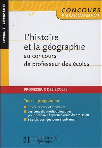 L'histoire et la géographie au concours de professeur des écoles