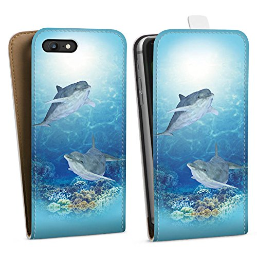 Apple iPhone X Silikon Hülle Case Schutzhülle Happy Dolphins Delfin Meer Downflip Tasche weiß