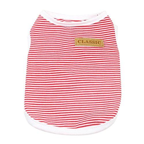 ღ ninasill ღ Pet Hund Hunde/Welpen Classic Weste T-Shirt Kleidung Gestreift Weste Bekleidung Rot Rot Medium -