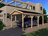 Carport Satteldach LE MANS I 350cm x 600cm KVH Bausatz m. Statik Konstruktionsvollholz