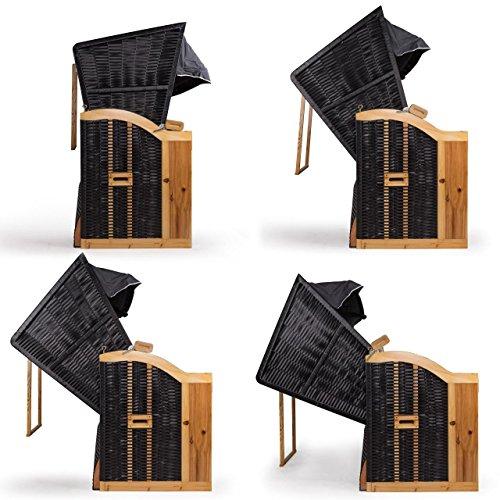 Strandkorb Deluxe Polyrattan Sylt Ostsee Volllieger inkl. 6x Kissen XXL160cm Grau Unifarben - 6