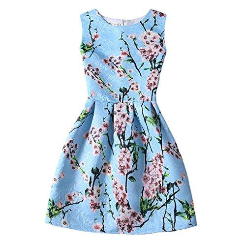 Jiayiqi Nouvelle Robe Sans Manches Taille Mince De Mode Femmes Belle Fleur De La Pêche Bleu