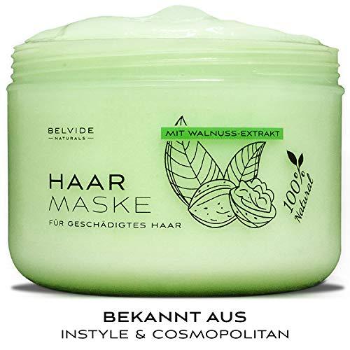 BELVIDE® Natur Haarmaske mit Walnuss, Brennessel und Jojobaöl für geschädigtes Haar · Haarkur ohne Silikon und Parabene · tierversuchsfrei · 250ml