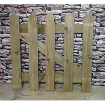 3ft X 3ft Treated Wooden Round Top Picket Garden Gate Amazoncouk