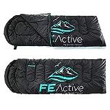 FE Active - Sacco a pelo 3-4 stagioni con cappuccio, lunghezza extra 2,2m x 78cm, resistente all'acqua, ideale per l'outdoor, campeggio, escursionismo, trekking, camping | Disegnato in California, USA