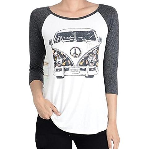 Coversolate Las mujeres de costura letras impresas manga larga blusa de la tapa