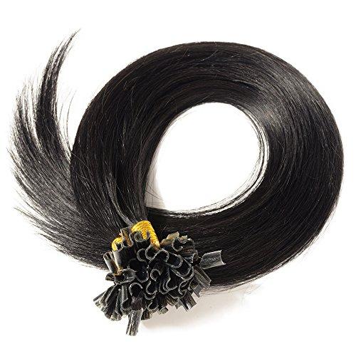 Extension u tip cheratina capelli veri remy indiani punta piena- cheratina italiana- 40cm #1 jet nero 0.5grammi 50 ciocche