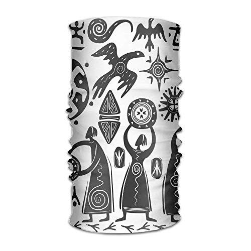 Women's Mans Turban Dancing Shaman Eagle Sun Snake Figure Prehistoric Cave Drawing Hip Hop Kerchief Sun Diamond Girl