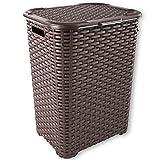 Wäschekorb Rattan 90 L Wäschebox Wäschetruhe Wäschesammler Wäschekörbe