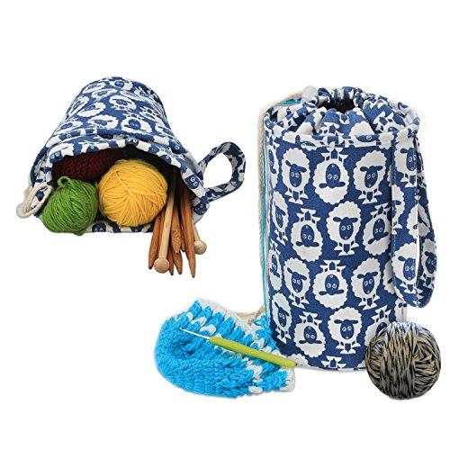 Luxja Kleine Stricktasche Aufbewahrung, Handarbeitstasche Häkeln, Wolle Tasche für Garn Stränge, Häkelnadeln, Stricknadeln (bis 10 Zoll) und Andere Kleines Zubehör