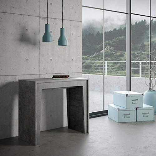 Itamoby arlecchino 90cm consolle allungabile, pannelli di nobilitato, cemento, l.90 x p.42 x h.78