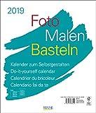 Foto-Malen-Basteln Bastelkalender weiß groß 2019: Fotokalender zum Selbstgestalten. Do-it-yourself Kalender mit festem Fotokarton. Format: 30 x 35 cm