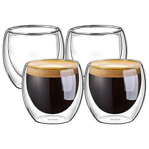 Ecooe 4-teiliges 100ml (Volle Kapazität) Doppelwandige Espressotassen/ Espresso Glaser Set