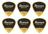 Ibanez Plektren der Wizard-Serie, mit Sandpapier-Griff, 1,0 mm, gelb, 6 Stück, PPA16HSGYE 0.8mm gelb