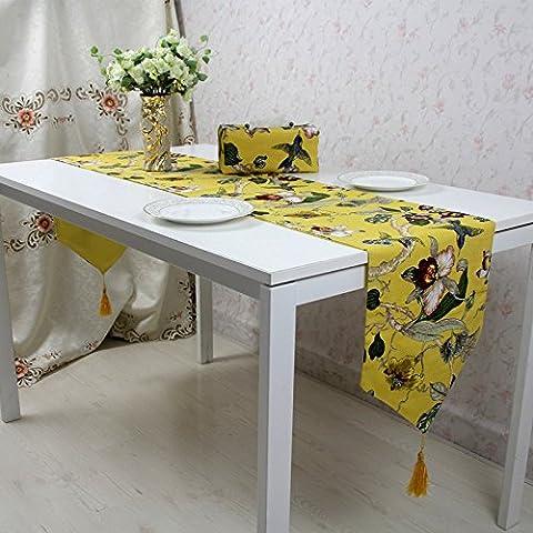 Vintage Naturel avec chemin de table rectangulaire simple Floral moderne Drapeau de table rustique pour mariage de douche Festival fête événement, Magnolia Fleur Drapeau de table, jaune, 33*300cm