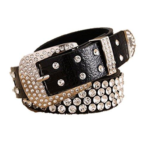 QincLing Damen Leoparddruck Strass Leder Gürtel Luxus Mode Taille Gürtel, Schwarz, Gr. 108cm (Womens Buckle Western Belt)