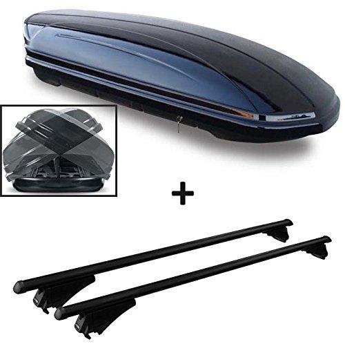 Coffre de toit Noir Maa 460Duo des deux côtés aufklappbar voiture Coffre de toit verrouillable 460L + barres de toit en aluminium pour aufliegende reling en kit pour Audi Q38U à partir de 2011