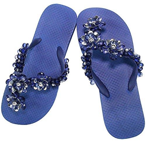 Simone Herrera-Chanclas Eclusivas-Luxury Footwear , tongs femme Multicolore - azul marino/marine blau
