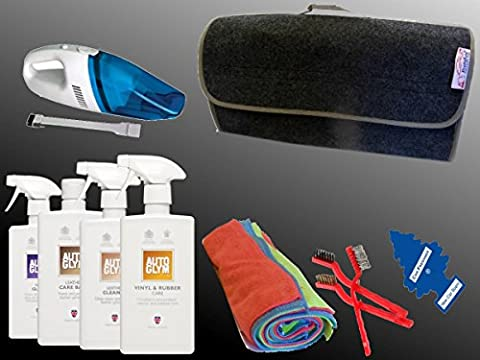 XtremeAuto® AUTOGLYM EXPERT LEATHER, CAR INTERIOR/SEAT CLEANING KIT SET, with 12V Vacuum Cleaner: Car, Taxi, Bus. (Leather interior kit #2) FREE AIR FRESHENER!