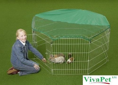 vivapet-outdoor-octagon-rabbit-run-cage-pen-with-sun-protection-net-cover-55-inch-black-silver