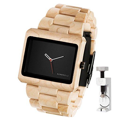 KERBHOLZ Reineke, handgefertigte Armbanduhr + exklusives Fachwerkzeug zum Anpassen des Armbandes - beige schwarz (Ahorn)