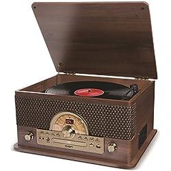 ION Audio Superior LP - Centro de entretenimiento 7-en-1 estilo vintage con altavoces estéreo, tocadiscos, reproducción de discos, CD, cassettes y radio AM/FM
